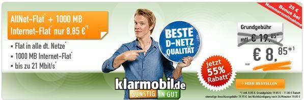 Telekom Allnet Flat + 1GB für 8,85€ mtl.