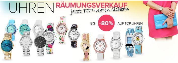 Modeuhren Räumungsverkauf mit bis zu 80% Rabatt + Schmuck WSV   Uhren ab 9€