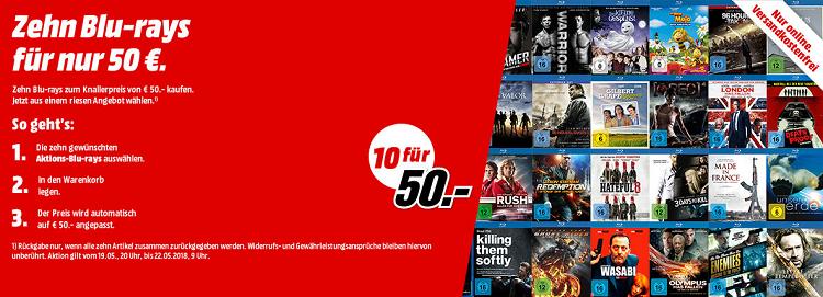 Media Markt: 10 Blu rays für nur 50€