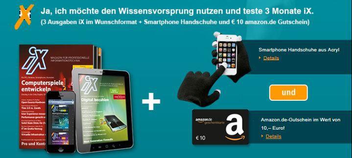 3 Ausgaben iX + 10€ Amazon Gutschein für 13,50€