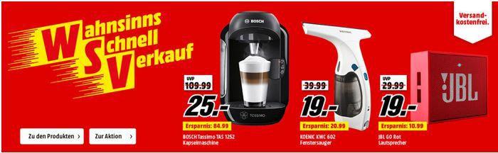 Wahnsinns schnell Verkauf Media Markt: Wahnsinns Schnell Verkauf   BOSCH TAS 1252 Tassimo Kapselmaschine für 25€