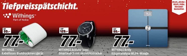 Media Markt Whithing Tiefpreisspätschicht: Withings Activité STEEL, Activity Tracker statt 129€ für 77€