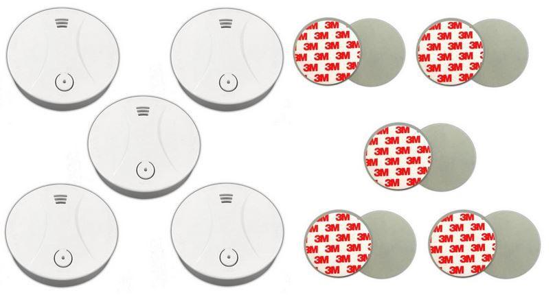 Xeltys   5er Set Rauchmelder inkl. Magnetbefestigung + Klebepads + 10J. Batterie  für 39,99€
