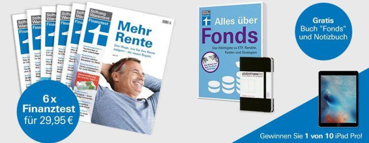 6 Ausgaben Finanztest für 29,95€ + gratis Buch Alles über Fonds & Notizbuch