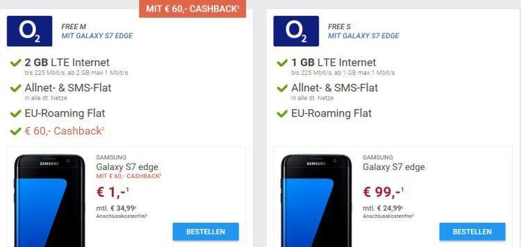 Samsung Galaxy S7 Edge nur 1€ + o2 Free M Allnet mit 2GB LTE + unbegrenzt Datenvolumen ab eff. 27,53€mtl.