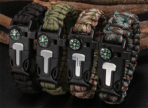 5 in 1 (Pfeife, Feuerstein, Schaber, Kompass, Flaschenöffner) Outdoor Armband für 1,21€