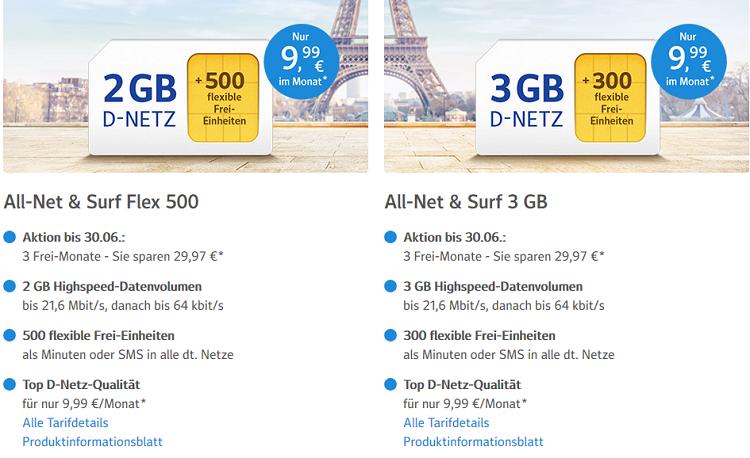 1&1 All Net & Surf Special ab 6,99€/Monat   bis zu 300 Freieinheiten + 3 GB Internet   3 Monate gebührenfrei!