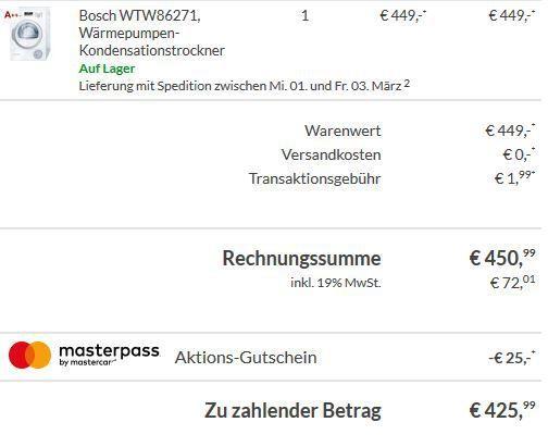 42599 Bosch WTW86271 Wärmepumpen Kondensationstrockner mit 8kg & A++ für 425,99€ (statt 499€)