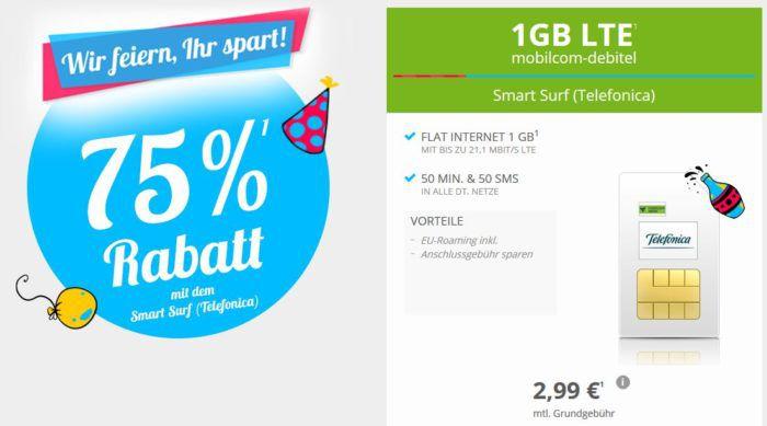 o2 Smart Surf mit 50 Min + 50 SMS + 1GB LTE für 2,99€ mtl.