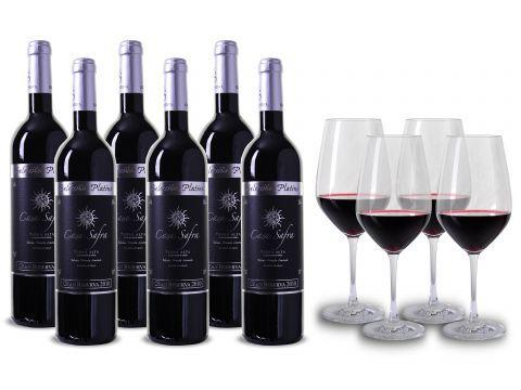 6 Flaschen Casa Safra   Selección Platino + 4 Gläser für 50€ (statt 82€)