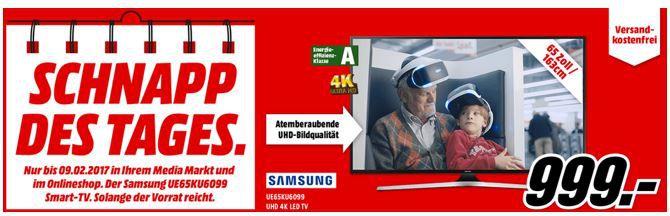 SAMSUNG UE65KU6099   65 Zoll UHD SMART TV statt 1.335€ für 999€