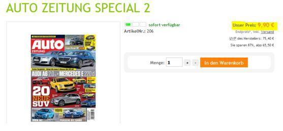 Auto Zeitung:  Jahresabo nur 9,90€ (statt 75€)