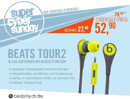 Beats Tour2 In Ear Kopfhörer mit Headsetfunktion für 59€ (statt 84€)