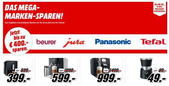 Media Markt Mega Marken Sparen: z.B. günstige Geräte von Beurer,  Jura , Panasonic, Tefal