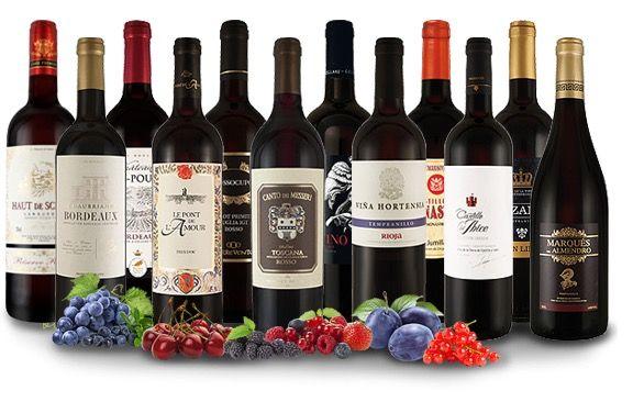 12 verschiedene Rotweine im XXL Paket für 49,99€