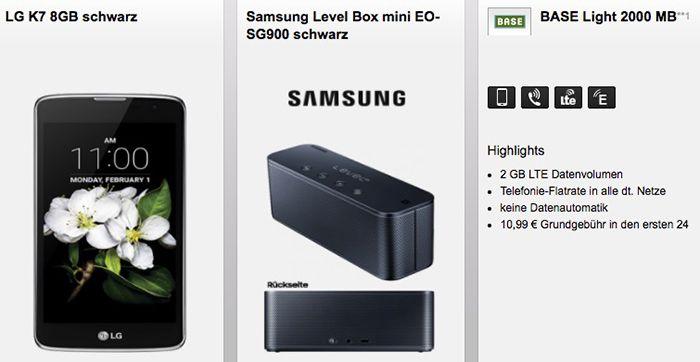 TOP! Base Light Allnet + 2GB LTE für 10,99€ mtl. + LG K7 Smartphone + Samsung Lautsprecher (Wert 152€)