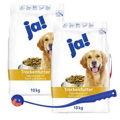 20kg ja! Hundefutter mit Huhn und Gemüse + Shooter inkl. Ball für 19,99€