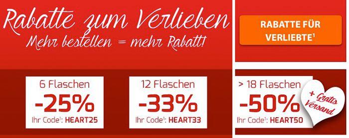 Valentinstags Rabatte von bis zu 50% bei Weinvorteil + VSK frei ab 18 Flaschen