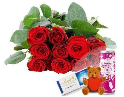 Valentins Allround Paket: 10 rote Edelrosen + Herzteddy + Hugo & Lindt Schokolade + Grußkarte für 16,94€