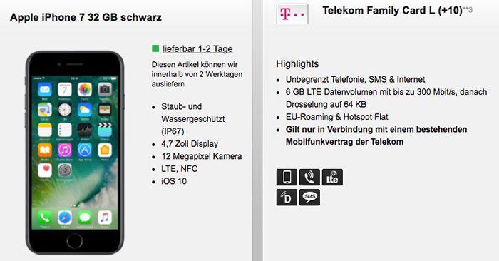 Nur noch wenige! iPhone 7 ab 1€ + Telekom Family Card mit Allnet Flat + bis zu 6GB LTE ab 29,95€ mtl.