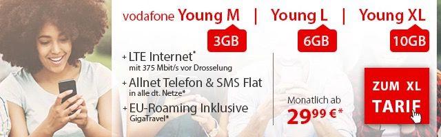 Vodafone Young LTE Tarife ab 29,99€ mtl. mit 100€ Startguthaben + iPhones ab 1€