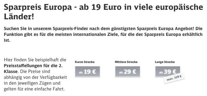 Europa Sparpreise bei der Deutschen Bahn   ab 19€ in viele europäische Länder