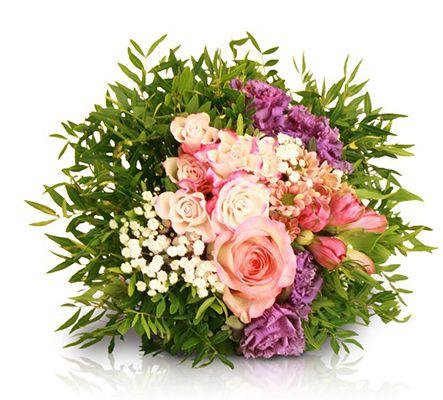 Valentins Strauß mit Rosen, Chrysantheme, Lisianthus, Alstromerien & Pistazie für 18,90€