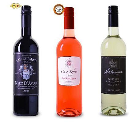 3 Weine (Rot, Weiß, Rosé) für je 2,99€pro Flasche   teilweise mit Gold prämiert