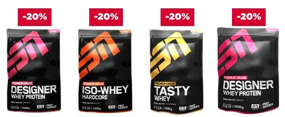20% Rabatt auf ESN Proteine + 15% Rabatt auf Gainer, Carbs und Creatine
