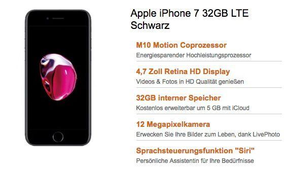 iPhone 7 32GB für 1€ + Vodafone Smart L mit 2GB LTE für 36,99€ mtl.