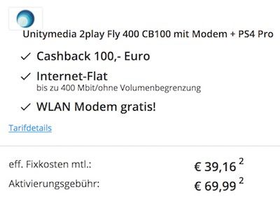 Unitymedia 2play Fly 400 + Playstation 4 Pro für effektiv 39,16€
