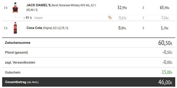 2 Flaschen Jack Daniels Single Barrel 0,7l 45% für 46€ (statt 66€)