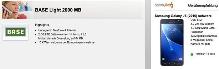 Base Allnet Flat mit 2GB LTE für 10,99€ mtl. + Samsung Galaxy J5 (2016) für 65,45€ (statt 159€)