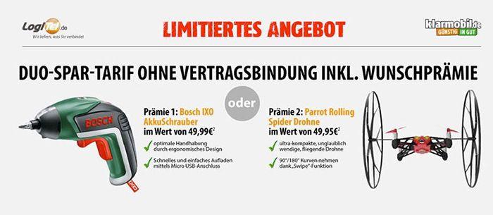 Bosch IXO Basic Akkuschrauber oder Parrot Rolling Spider Minidrohne für 4,90€   genau lesen!
