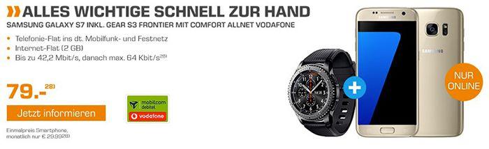 TOP! Galaxy S7 + Galaxy Gear S3 Watch für 79€ (statt 808€) + Vodafone Allnet Flat mit 2GB für 29,99€ mtl.