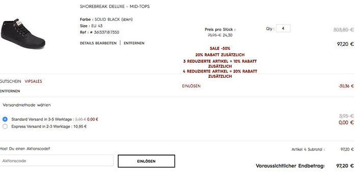 Kombifehler? Quicksilver Sale + 20% ab 4 Artikeln + weitere 20% dank VIP Gutschein