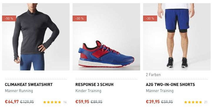 adidas Trainings Outlet mit 25% Extra Rabatt + VSK frei ab 50€