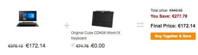 Bildschirmfoto 2017 02 22 um 12.29.19 Cube iwork1x   11,6 Zoll Full HD Tablet mit 64GB + Tastatur + Win 10 für 146,50€ (statt 191€)