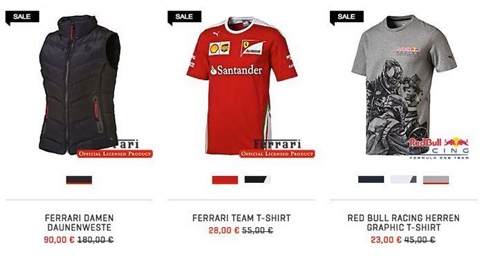 TOP! Motorsport Sale bei Puma + 20% Gutschein   z.B. Ferrari Poloshirt für 37€ (statt 73€)