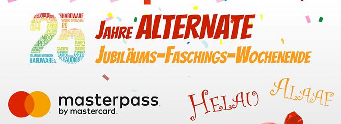 TOP! 25% oder 25€ Rabatt bei Alternate mit Masterpass   nur noch bis Mitternacht!