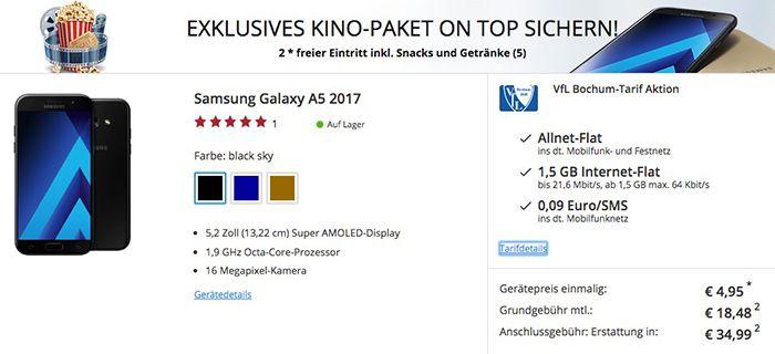 otelo Fan Tarif mit 1,5GB + Samsung Galaxy A5 (2017) für 18,69€ mtl. + 2x gratis Kino Eintritt mit Getränke & Snacks