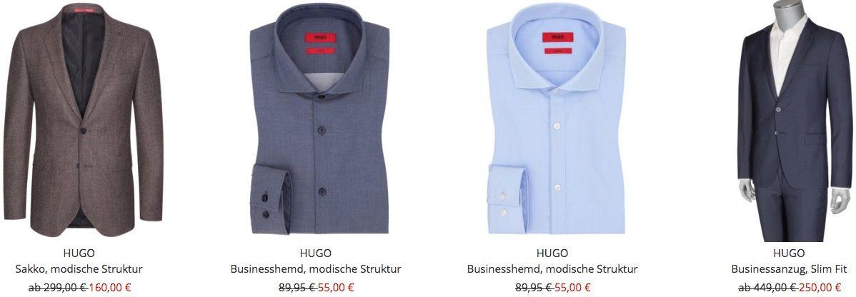 Hugo Boss Sale mit 10% Extra Rabatt   z.B. Business Anzug für 225€ & Hemden ab 50€