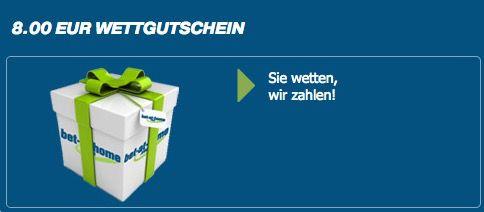 8€ Gratis Wette bei bet at home + bis zu 100€ Einzahlungsbonus für Neukunden