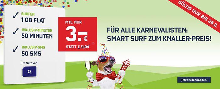 Letzte Chance! o2 Smart Surf mit 50 Min, 50 SMS & 1GB LTE für 3€ monatlich bis Mitternacht