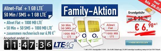 Nur heute! o2 Family Aktion (2 Simkarten) mit Allnet Flat & 1GB LTE + 50 Min/SMS & 1GB LTE für 6,98€ mtl.