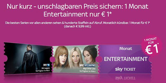 TOP! Sky Entertainment Ticket ab 1€ mtl. (statt 19,98€) – nur Neukunden