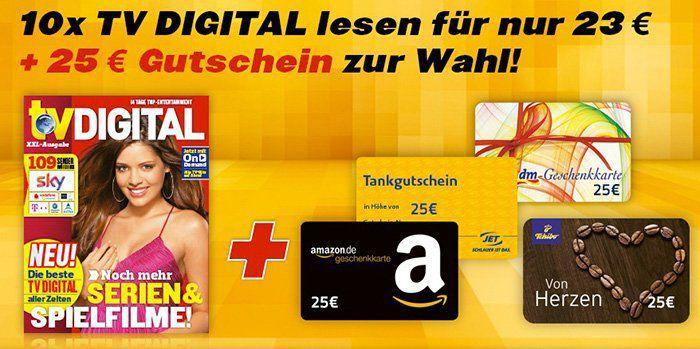 10 Ausgaben TV Digital für 23€ + 25€ Gutschein