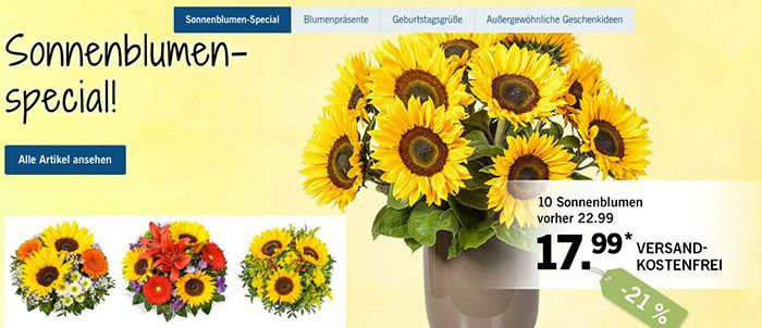 LIDL Blumen mit 5€ Rabatt auf ALLES ohne Mindestbestellwert + VSK frei