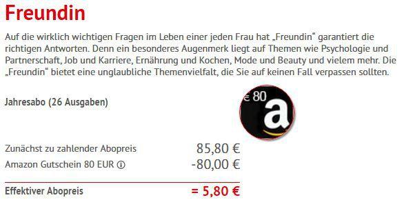 Freundin Berechnung Jahresabo der freundin für 5,80€   Kündigung notwendig!