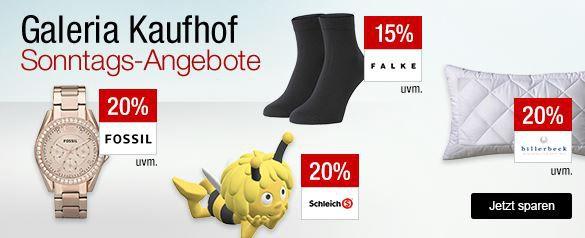 Galeria Angebote am Sonntag Galeria Kaufhof Sonntagsangebote   z.B. 20% Rabatt auf ausgewählte Uhren  Schmuckmarken  Outdoorjacken  u. Golfartikel